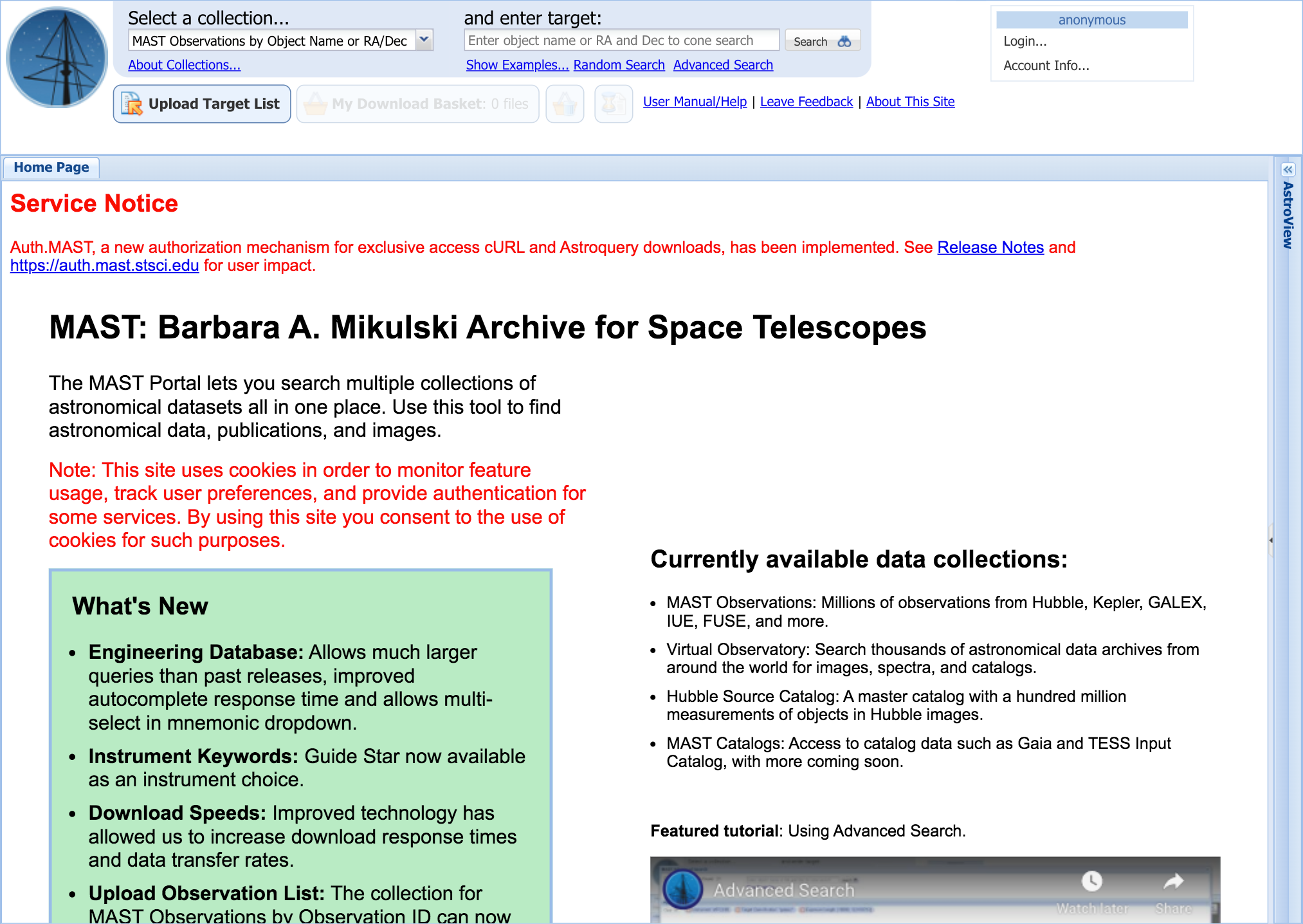 MAST: Barbara A. Mikulski Archive for Space Telescopes
