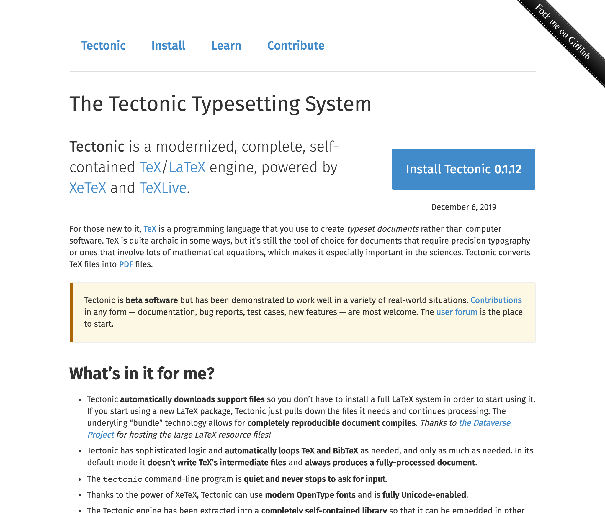 Tectonic Typesetting System